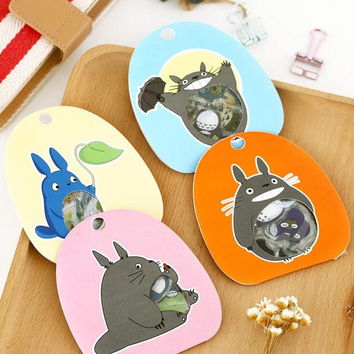 60 pcs pack Cute Totoro Transparent PVC Decorative Stickers Diary Sticker Scrapbook Decoration PVC Stationery Stickers