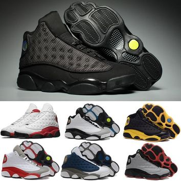2017 New Cherry Retro 13 OG Black Cat Men Basketball Shoes Trainers Retro 13s Hologram Chicago Bred Cement Grey Toe Man Sneakers