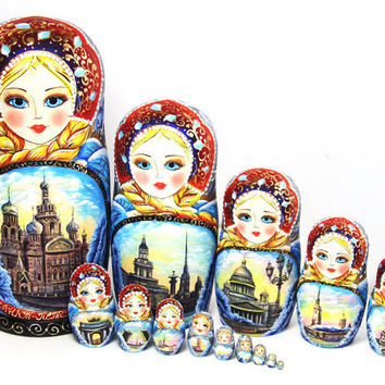 Nesting Doll 15pcs 12.9in. 33cm Matryoshka, Russian doll, Russian matryoshka doll, Nested doll, Matrioshka, Saint-Petersburg kod332