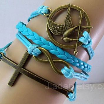 hunger bracelet,mockingJay pin bracelet,Games bracelets,cross,infinite,leather bracelets,hipsters jewelry,best friend Gift,sky blue,jewelry