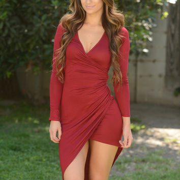 Get it Twisted Dress - Burgundy