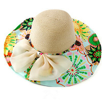 Women Wide Large Brim Floppy Summer Beach Sun Hat Fold Printing Straw Cap