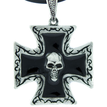 Death Skull Iron Cross Necklace Black Inlay Occult Jewelry