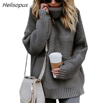 Helisopus 2018 Autumn Winter Women Sweater Solid Color Loose Turtleneck Pullovers Female Long Sleeve Casual Sweaters