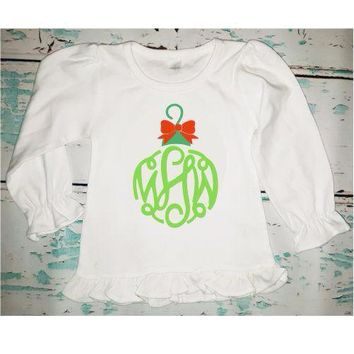 Personalized Monogrammed Girl's Christmas Ornament Shirt