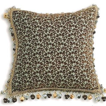 "Pica chenille wine small damask pattern print 18"" x 18"" throw pillow with tassel bead trim"