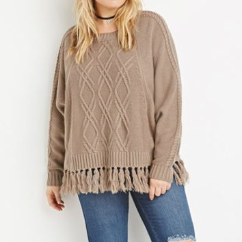 Cable Knit Fringed Poncho