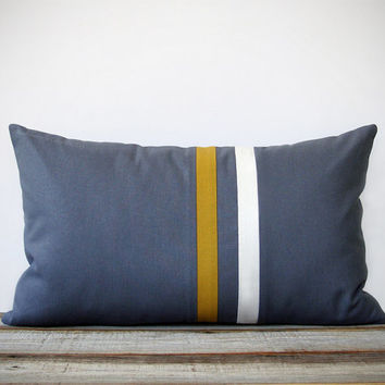 Mustard Yellow and Gray Striped Pillow - 12x20 - Modern Home Decor by JillianReneDecor - Colorful Colorblock Stripes (More Colors)