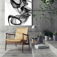 """The Marriage, Black and White Contemporary Abstract Canvas Art Print, Extra Large BW Contemporary Canvas Art Print up to 72"""" by Irena Orlov"""