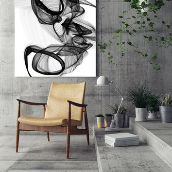 "The Marriage, Black and White Contemporary Abstract Canvas Art Print, Extra Large BW Contemporary Canvas Art Print up to 72"" by Irena Orlov"