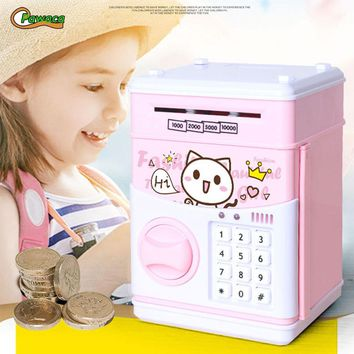 Cartoon Cat Large Piggy Bank ATM Bank Money Saving Box Password Box Minions Safe Piggy Bank Smart Money Piggy Box coin Bank