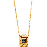 Vintage Chanel Gold Perfume Bottle Necklace From What Goes Around Comes Around by Vintage Chanel from What Goes Around Comes Around - Moda Operandi