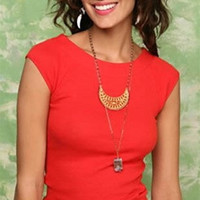 Free People Boat Neck Tie Top Red