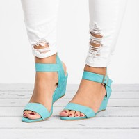 Ankle Wrap Teal Wedge Sandals