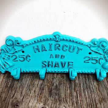 Shave & Haircut Wall Rack - Seaside Aqua Blue - Vintage Inspired Barber Sign Shabby Chic