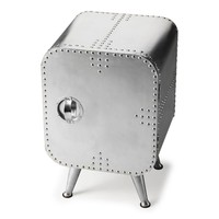 Midway Industrial Aviator Style Square Chair-side Chest Silver Aluminum