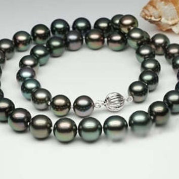 Free Shipping >>>>> Natural AAA 8-9mm black Tahitian Cultured pearl necklace 18""