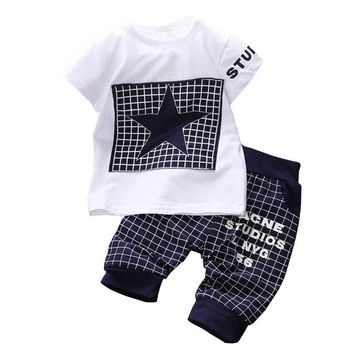 Newborn Baby Boy Clothes 2018 New Summer Style Children Clothing Sets Star Printed Cotton Kids Clothes for 1 2 3 4 Year Boys