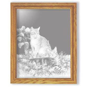 """""""Hobbes and Topper"""" Cat Etched Glass Art Mirrors"""