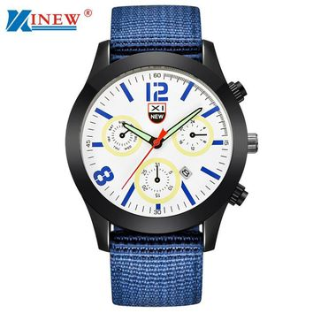 XINEW Canvas Quartz Watch Men Military Army Clock Men's Luxury Stainless Steel Dial Wrist Watches Relogio Masculino #LH