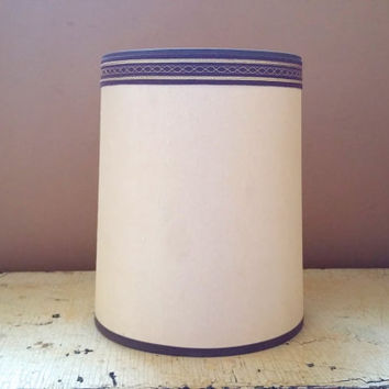 MCM Beige Drum Lamp Shade Clip On 10 1/2 Inch  Lampshade Brown Trim