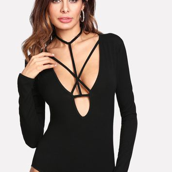 Strappy Plunging Neck Fitted Bodysuit