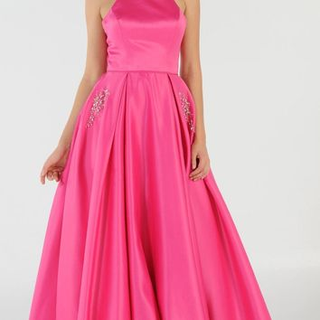 Fuchsia Long Satin Prom Dress Halter Spaghetti Strap with Pockets