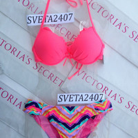 New Sexy Victoria's Secret Neon Hot Pink Chevron Fabulous Push Up Bikini Set
