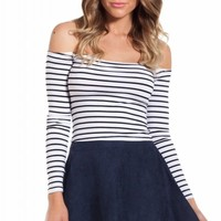 Bordeaux top in white black stripe | SHOWPO Fashion Online Shopping