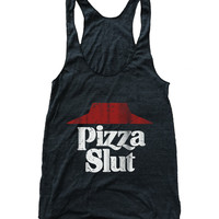 Pizza Slut Tri Blend Athletic Racerback Tank Top
