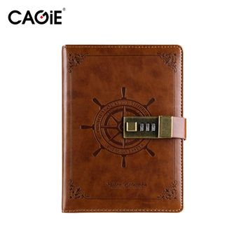 2017 Real Limited Caderno Planner Cagie Vintage Pu with Lock Notebook Fashion for Creative Sketchbook Men/women Travel Journal