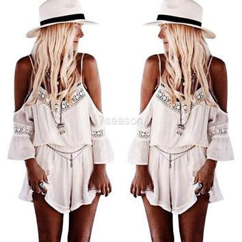 Women Lace V Neck Playsuit Bodycon Party Jumpsuit&Romper Trousers Pants  7_S = 1917141060