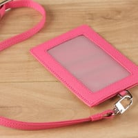 Herald Pink Saffiano Leather ID Card Lanyard with Silver Plated Hardare