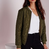 Missguided - Quilted Padded Bomber Jacket Khaki