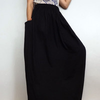 Women Maxi Long Skirt, Casual Gypsy, Bohemian,Woven Pockets Accent Cotton Blend In Black (Skirt *MW6A).