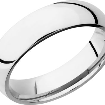 Platinum 6mm Wide Polished Domed Wedding Band