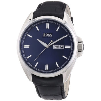 Hugo Boss 1512877 Men's Blue Dial Black Leather Strap Watch