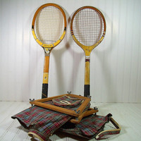 Vintage Wooden Tennis Rackets with Plaid Canvas Covers & Wood Guards - Retro Sports Equipment Ensemble 6 Piece Set - Repurpose GameRoom Art