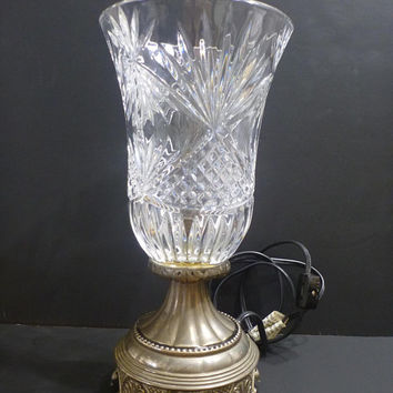 Godinger Silver Art Crystal Electric Lamp, pineapple cut style