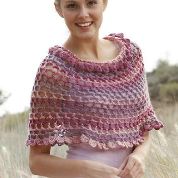 Pink Poncho CHOOSE YOUR COLOR girl poncho women poncho winter crochet poncho hand knit gradient black rainbow multicolor boho Drops Lilith