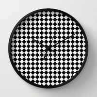 Black and white art deco diamonds Wall Clock by Laureenr