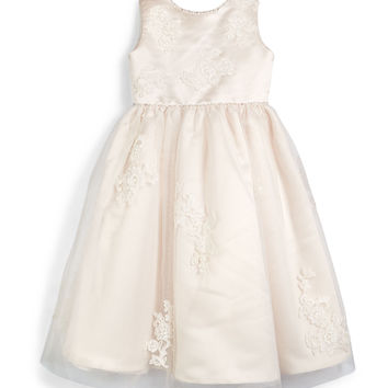 Sleeveless Lace-Trim Satin & Tulle Dress, Petal/Ivory, Size 4-8,