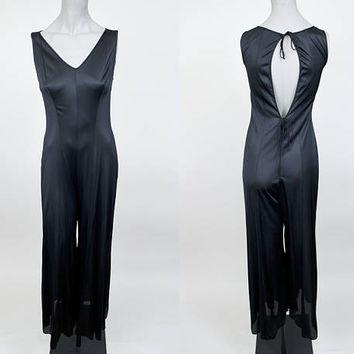 Vintage 70s Sleepwear / 1970s Black Nylon Backless Pajamas S