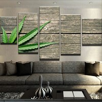 Weed on Wood Canvas Set