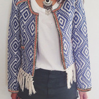 Blue Diamond Print Fringed Long Sleeve Jacket