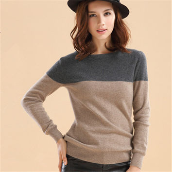 Autumn&Winter Cashmere Sweater Women Patchwork Pullovers O-Neck Knitted Soft Warm Cashmere Pullover Female Fashion High Qaultiy