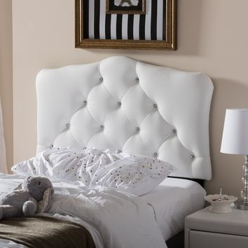 Baxton Studio Rita Modern and Contemporary White Faux Leather Upholstered Button-Tufted Scalloped Twin Size Headboard  Set of 1