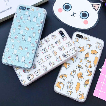 Funny Cartoon Dog Pattern Case For iphone 7 Case Fashion Cute Animal Cat Back Cover Phone Cases For Apple iphone7 6 6S Plus 5 5S -JMJewelry