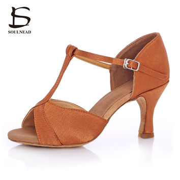 Women's Latin Dance Shoes Deep Skin Color Heels  Ballroom Salsa Tango  Ladies Dancing Shoes Woman 5cm/7cm Heel