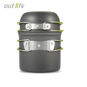 New Ultralight Outdoor Camping Cookware Utensils Hiking Picnic Backpacking Tableware Pot Pan 1-2persons Non-stick Pot Pans Bowls